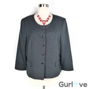 Kasper Black Polka Dots Button Blazer Size 14